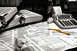 Tax filing desk clutter