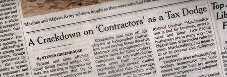 Contractor tax dodge NYT headline 021810