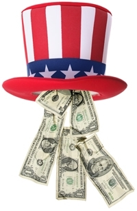 Uncle sam hat with money2