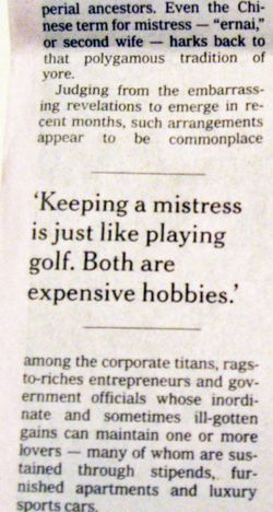 Costs of golf and mistresses_NYT story clip