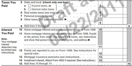 Schedule A taxes-interest sections 2011 draft