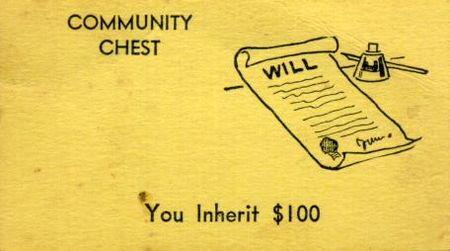 Vintage Monopoly Community Chest inheritance card