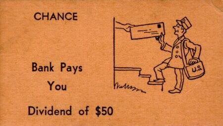 Vintage Monopoly Chance bank dividend card