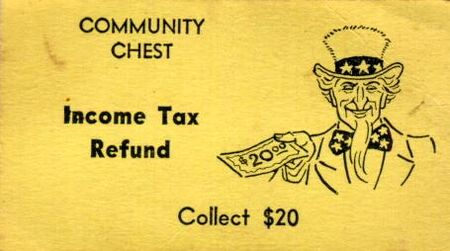 Vintage Monopoly Community Chest tax refund card