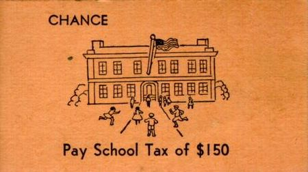 Vintage Monopoly Chance school tax card