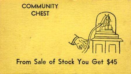 Vintage Monopoly Community Chest asset sale