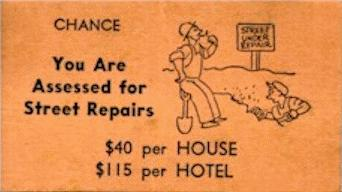 Vintage Monopoly Chance street repairs card