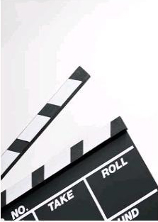 Movie production scene clapboard