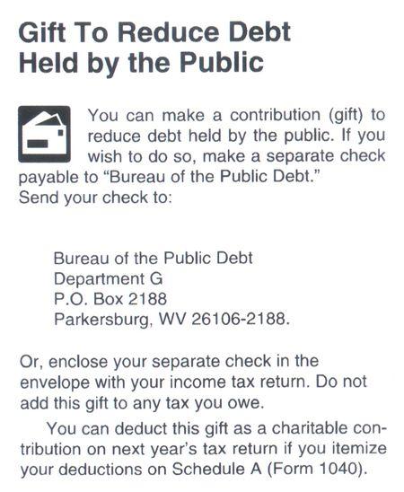 Public debt contribution IRS Pub17 notice