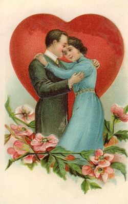 Free-vintage-valentines-day-card-happy-couple-with-red-heart-and-pink-flowers