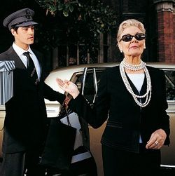 Wealthy older woman with chauffeur