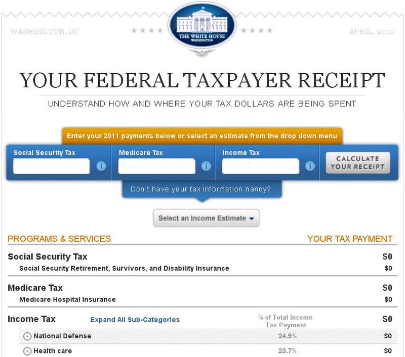 White House tax receipt 2012