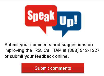 Taxpayer advocacy panel speak up box