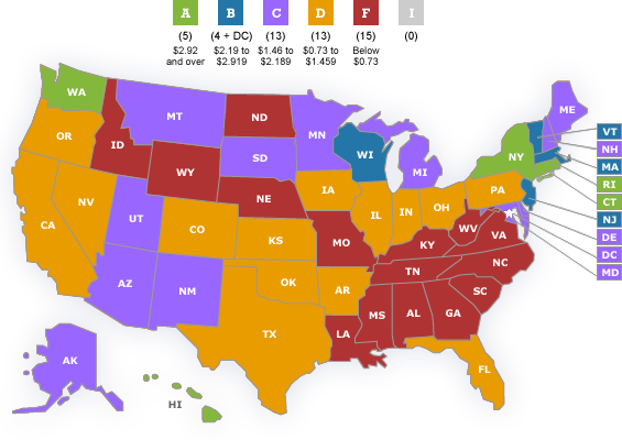 Cigarette excise tax map_American Lung Association 2012