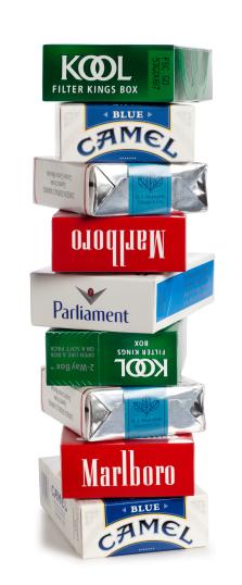 Stack of cigarette packs