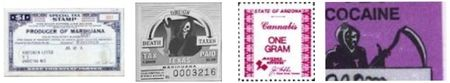 Assorted state illegal drug tax stamps