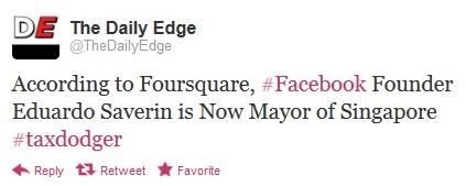 Daily Edge Saverin Foursquare Twitter 051712