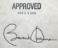 Obama signature on health care act 032310
