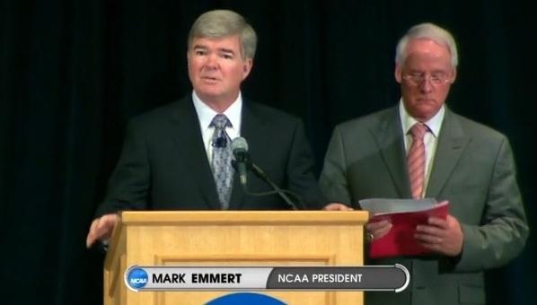 NCAA President Mark Emmert announces Penn State sanctions.