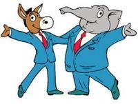 Democrats and Republicans logos getting along