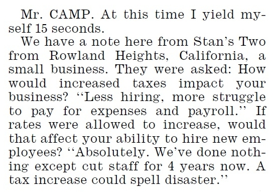 Dave Camp reference to Stans Two during Bush tax cuts debate 8-1-12