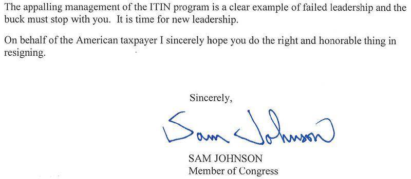 Rep Sam Johnson R-Texas calls for IRS Commissioner Douglas Shulman resignation