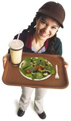 Teenage fast-food worker