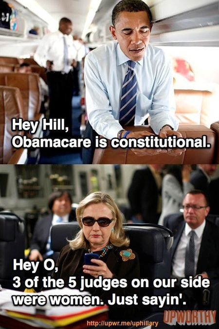 Texts from Hillary Obamacare SCOTUS women justices via UpWorthy