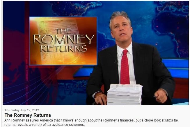 Romney tax returns via Jon Stewart Daily Show