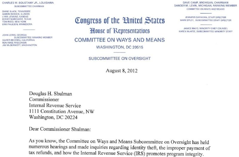 wm oversight chair boustany tigta itin letter to irs comm douglas shulman 080812
