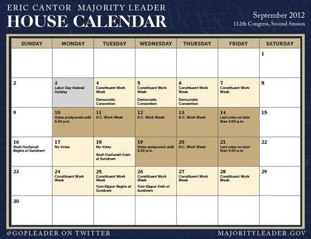 GOP Leader House Calendar September 2012