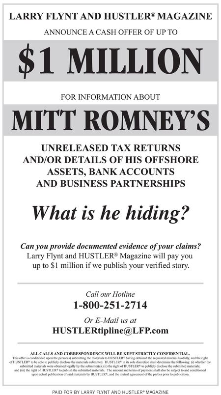 Larry Flynt ad 1million for Romney returns via Hollywood Reporter