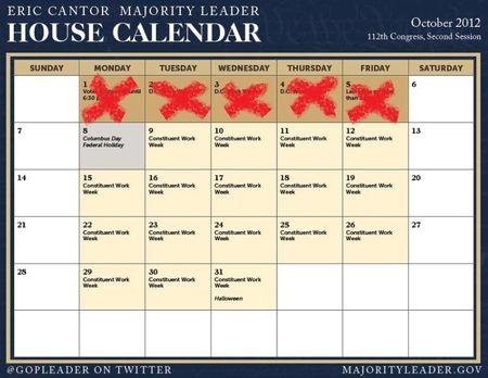 House October 2012 calendar change
