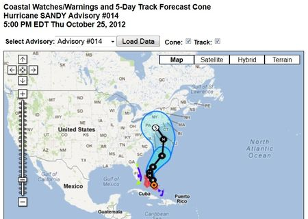 Hurricane Sandy projected path 102512