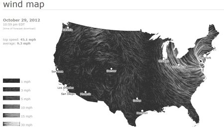 Wind map of Hurricane Sandy making landfall Oct. 29, 2012