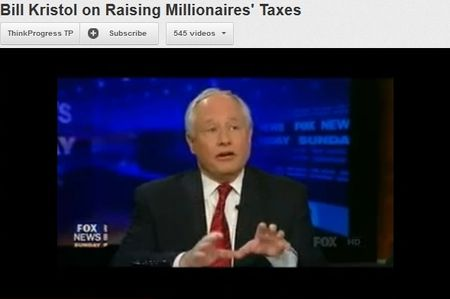 Bill Kristol talking tax hikes on Fox News; YouTube video via ThinkProgress