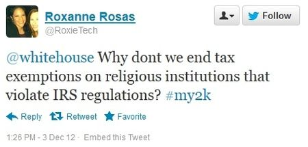 Twitter question about tax sanctions against political religious groups
