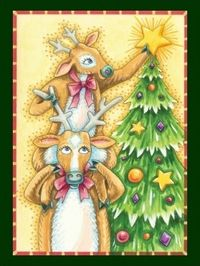 Reindeer_putting_star_on_Christmas_tree_postcard_by_ChristmasCafe via Zazzle