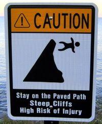 Cliff warning via Lillie Around the World