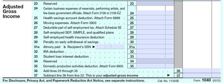 1040 adjusted gross income before