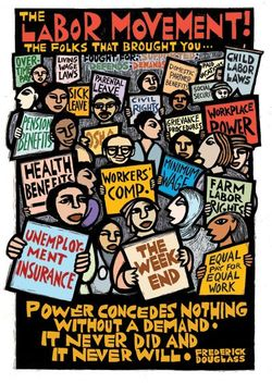Labor poster by by Ricardo Levins Morales