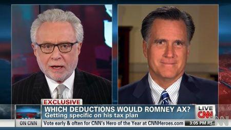 Mitt Romney talking tax deductions on CNN 9Oct2012