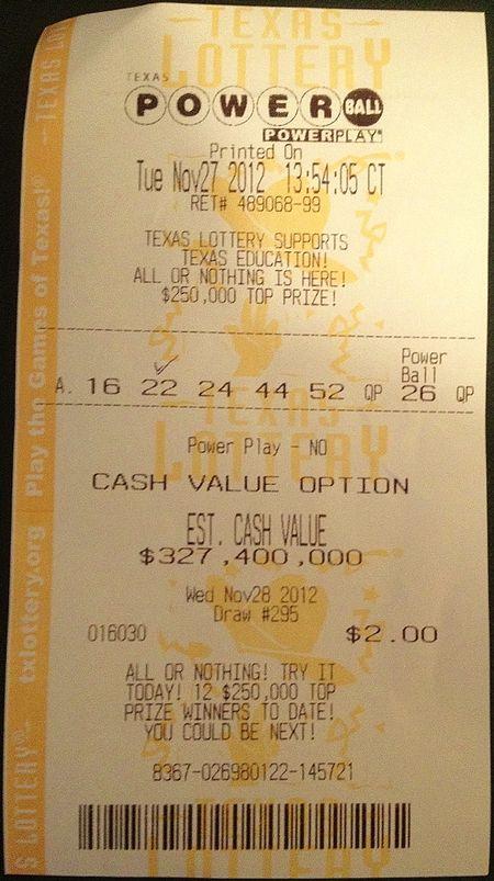 Powerball losing ticket 11-28-12