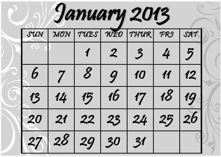 January-2013-Calendar
