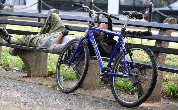Dupont Circle WDC resting bicyclist via Elvert Barnes Flickr Creative Commons