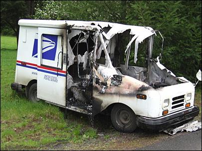 Burned mail truck_Clark County Washington fire station photo_KOMO News