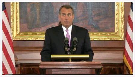 House Speaker John Boehner fiscal cliff statement 110712