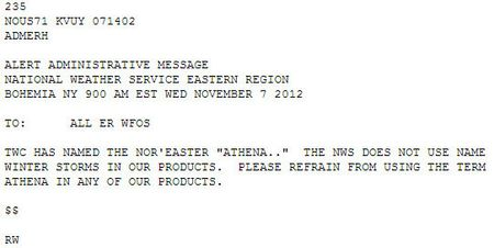 National Weather Service announcement re winter storm names
