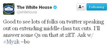 WH public fiscal cliff tweets My2k_bo announcement