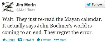 John Boehner Mayan calendar end of world jokes Twitter